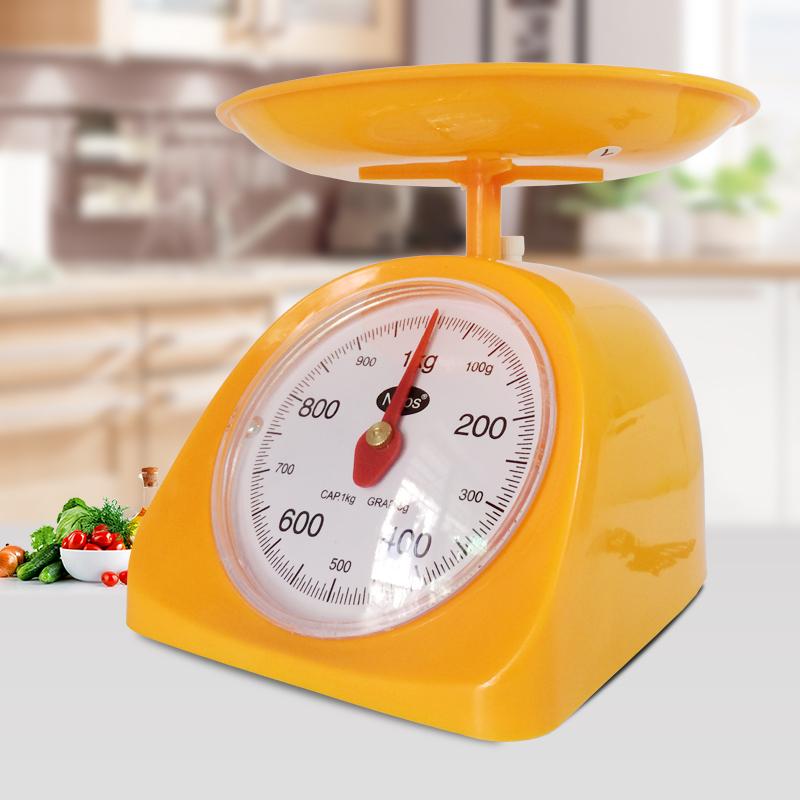 家用弹簧秤机械厨房称重器圆盘称托盘秤迷你小秤台称塑料刻度称克