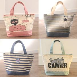 包邮 可爱清新条纹小帆布包 装饭盒的袋子学生便当包手提包妈咪包