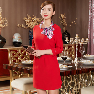 Hotel waiter dress long sleeves catering clothing hotel Chinese restaurant front desk cashier overalls female skirt