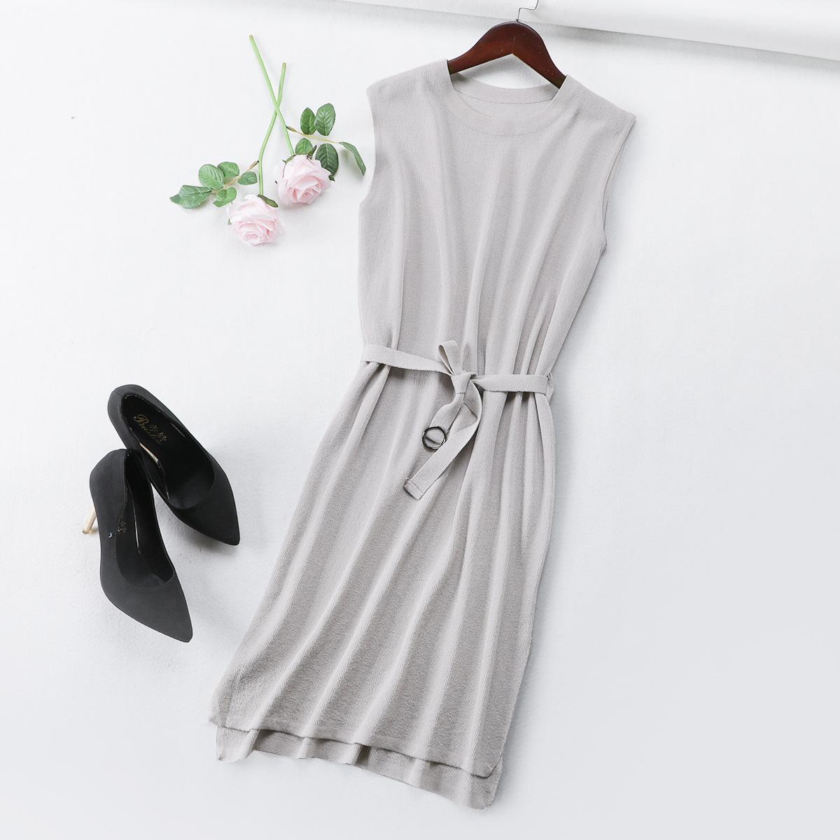 M3 夏季新款连衣裙修身冰丝针织无袖韩版气质纯色束腰中长款开叉