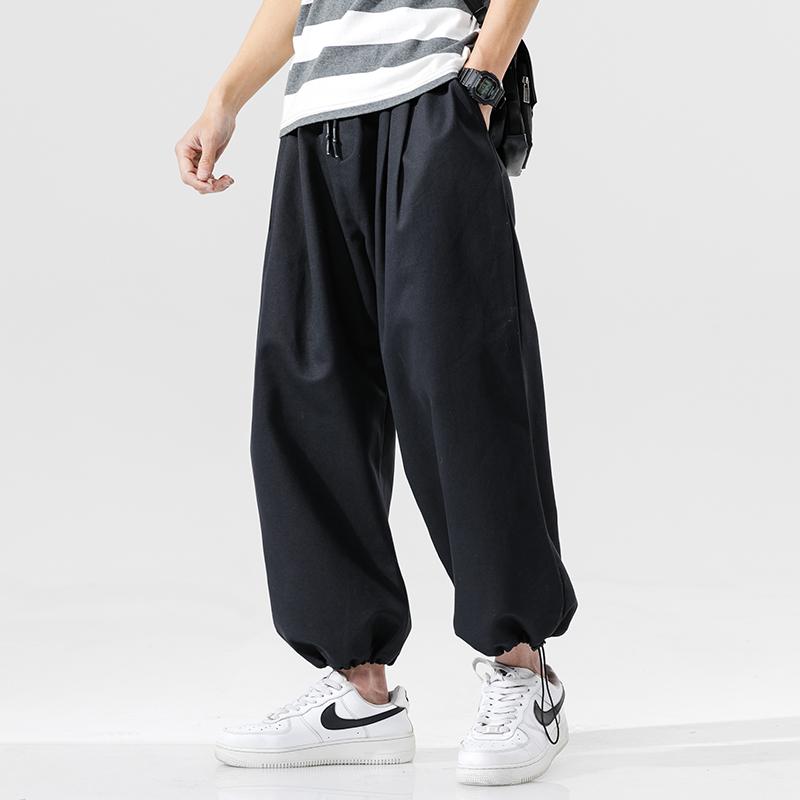 2020春季新日系无影墙大码男抽绳束脚宽松九分裤休闲裤K2016-P35