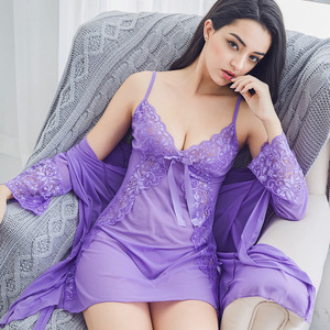 Sexy pajamas women autumn and winter strap nightdress sexy tulle transparent lace flirt plus size hot tease temptation