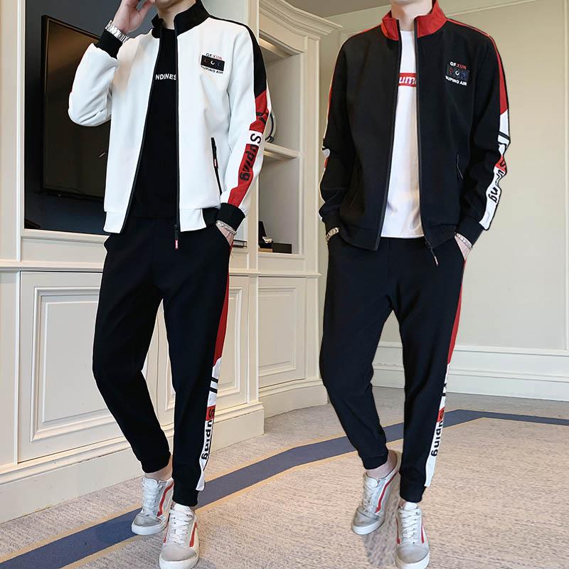 三件套装男装春秋季卫衣服韩版潮流帅气青年高中学生休闲运动外套
