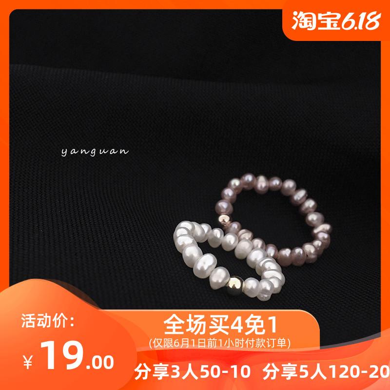 网红天然小珍珠戒指女纯银时尚食指指环个性简单银珠尾戒手工饰品