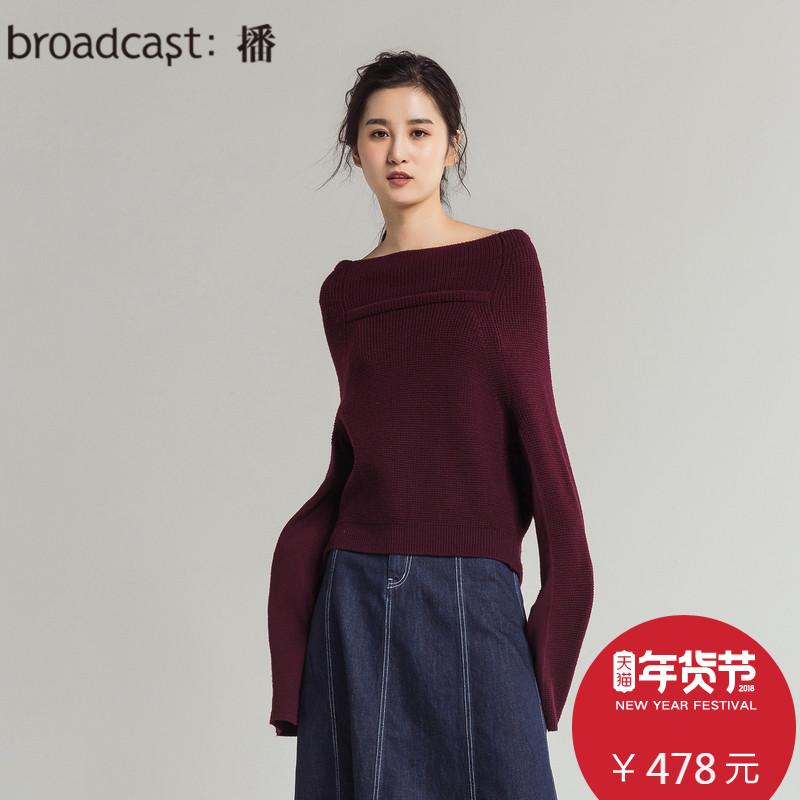 播 小小森林 2018春装新品韩版一字领纯色长袖针织毛衣女