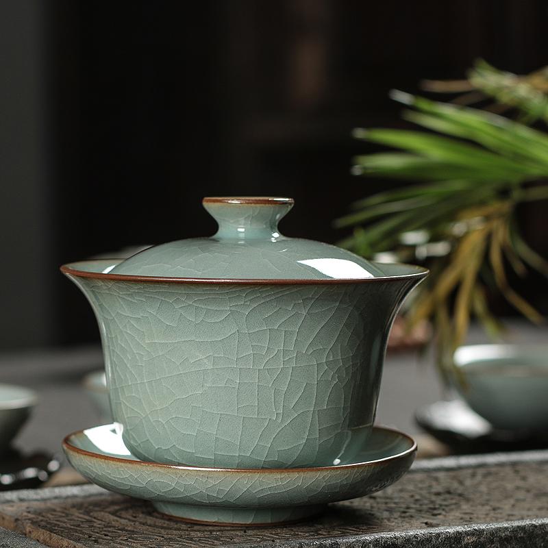 龙泉青瓷三才盖碗茶杯大号家用复古泡茶功夫茶具哥窑冰裂陶瓷单个