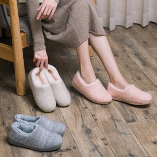 2018冬季新款棉拖鞋防兔绒保暖情侣居家鞋室内防滑加厚海马毛拖鞋