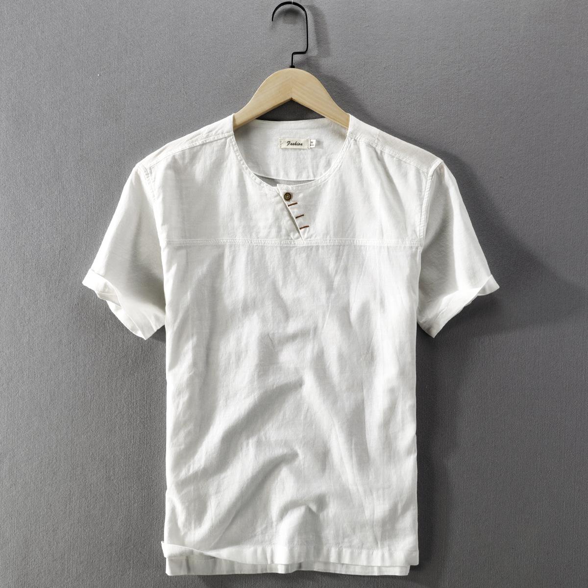 夏季男士休闲亚麻衬衫短袖无领套头复古薄中国风棉麻凉爽文艺衬衣