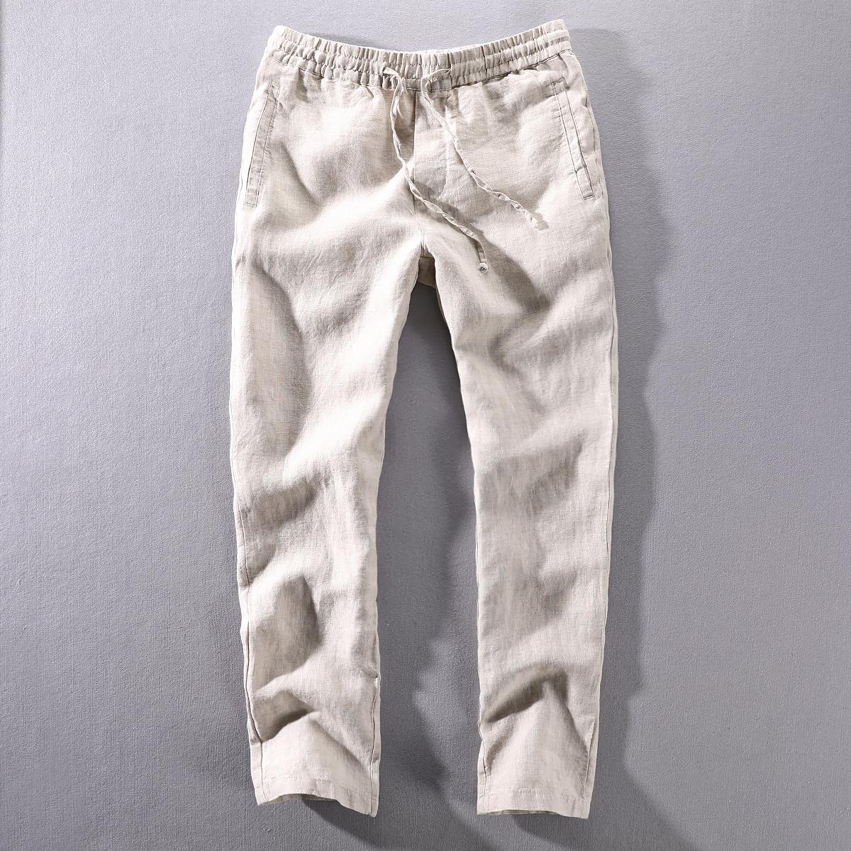 夏季男士新款休闲亚麻裤松紧腰绳直筒轻薄透气纯麻布料男款长裤子