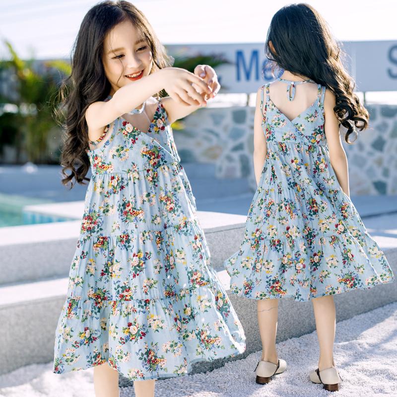 2018夏装新品韩版童装女童波西米亚吊带儿童沙滩度假长裙印花长裙