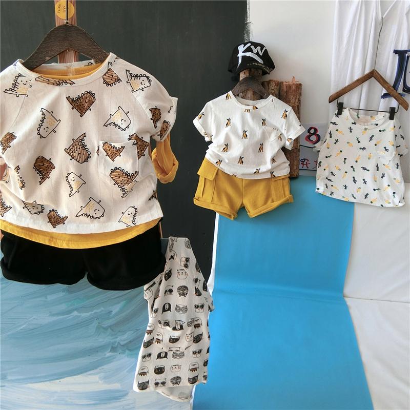 美雅雅男童短袖T恤夏季童装儿童圆领上衣薄款 宝宝卡通短袖体恤潮
