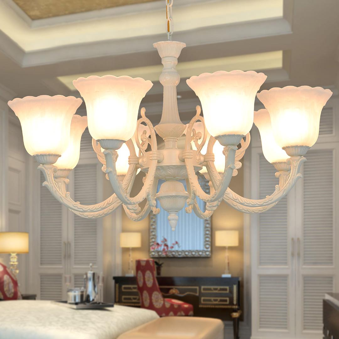 简约欧式吊灯LED 客厅书房卧室餐厅 创意轻奢象牙白烤漆吊灯B067_柏图灯饰