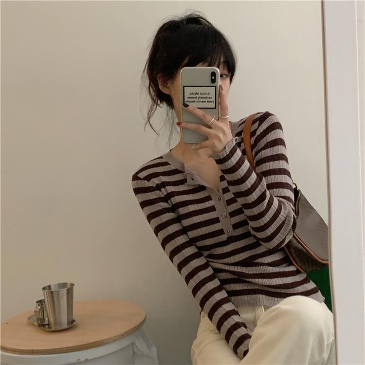 实拍实价售价不低于38 韩版修身V领条纹长袖针织衫打底衫-LBO萝卜-