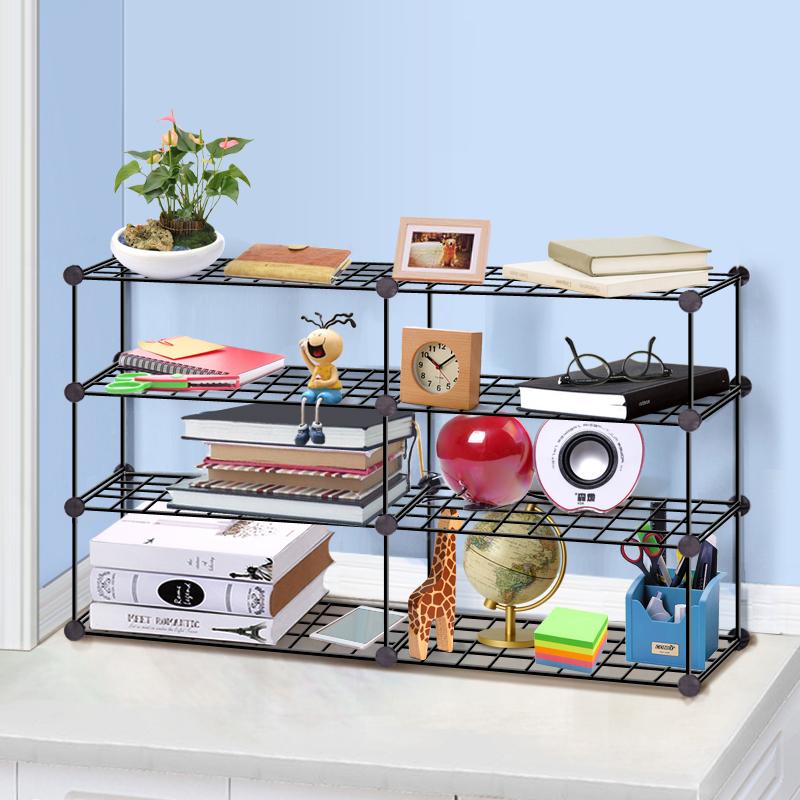 菲斯卡时尚简易组合创意铁网宿舍学生小书架办公室桌上整理收纳架
