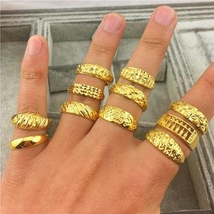 越南沙金镀金女士可调节戒子情侣对戒结婚饰品欧币仿黄金男士戒指图片