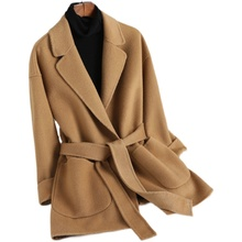 专柜正品牌清仓反季高端双面羊绒大衣we14短款(小)uo毛呢外套