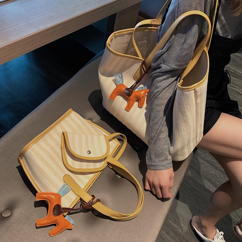 帆布单肩大包包女2019新款潮韩版百搭大容量简约时尚女手提洋气包