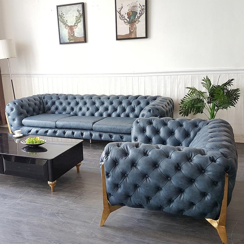 后现代新古典沙发美式复古真皮沙发轻奢意大利