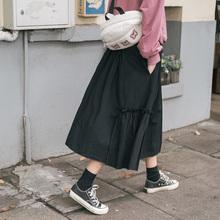【现货yo忠犬(小)八梨ao-黑色半身裙h新款韩款日系宽松仙女裙女