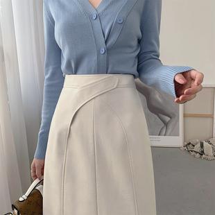 mona原创女装设计感pu小皮裙半身裙 高腰a字新款气质显瘦百搭中裙图片