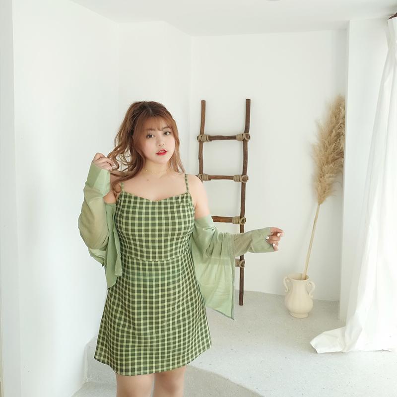 MCR大码女装复古格子吊带连衣裙 胖MM减龄牛油果绿连衣裙显瘦套装