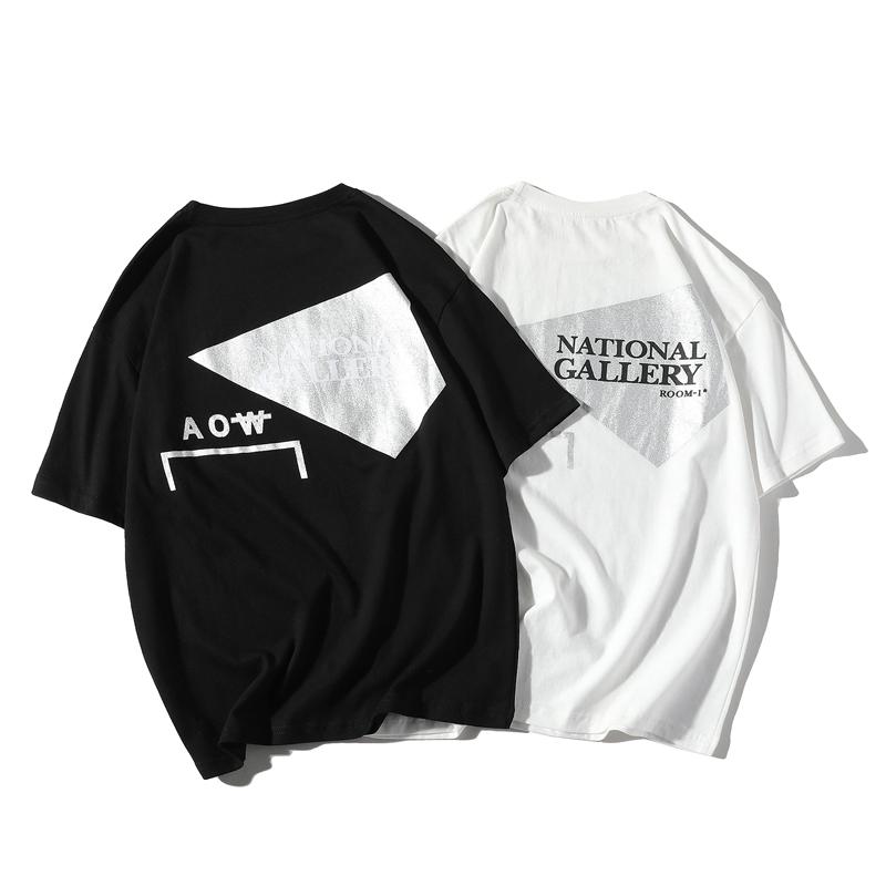 S-5XL 夏天社会小伙潮流烫金T恤 大码胖子短袖半截袖潮 T1903-P35