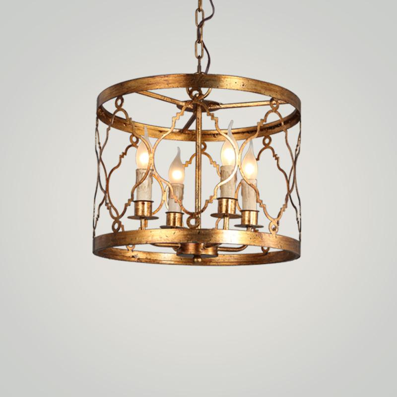 美式金色铁艺客厅吊灯卧室玄关服装店咖啡店创意个性复古铁艺吊灯-奥梦灯饰