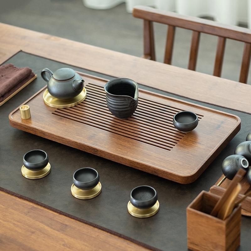 排水茶盘实木储水抽屉式简约茶台小家用竹制茶海功夫茶具套装日式