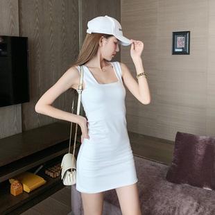 紧身连衣裙秋冬方领宽吊带修身内搭背心裙女打底白色性感包臀短裙图片