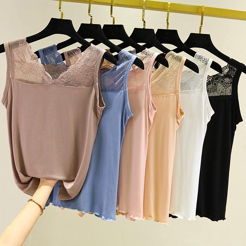 莫代尔蕾丝吊带背心女春夏季性感V领内搭纯色修身无袖打底衫上衣