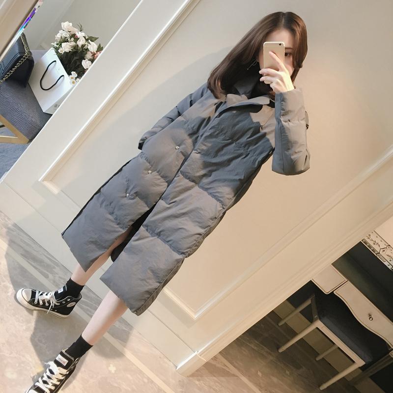 棉衣女中长款2017冬装新款韩版学生宽松过膝棉袄百搭加厚chic棉服