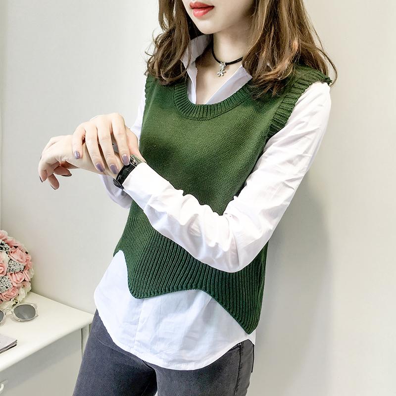 毛衣马甲两件套女新款2017韩版百搭显瘦秋季针织马夹女背心针织衫