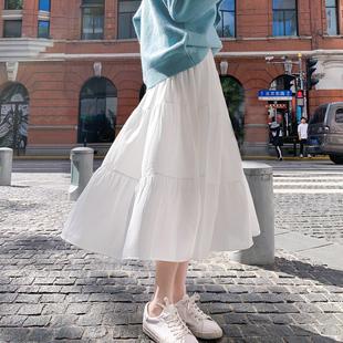 秋冬雪纺半身裙女中长款长裙白色蛋糕裙高腰A字裙冬天配毛衣裙子