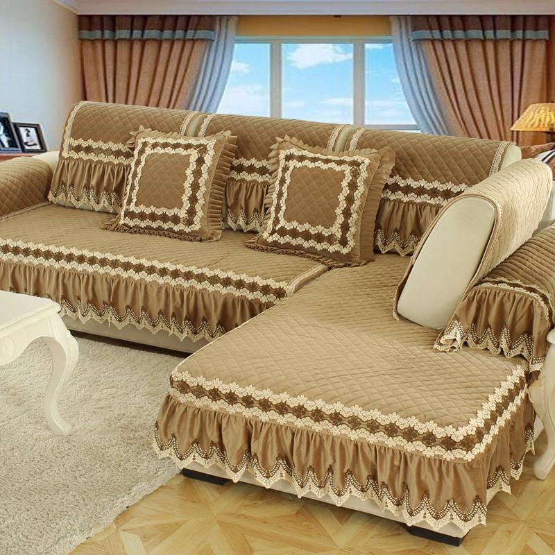 欧式毛绒沙发垫冬季防滑全包冬天坐垫123组合万能套通用型三人位U