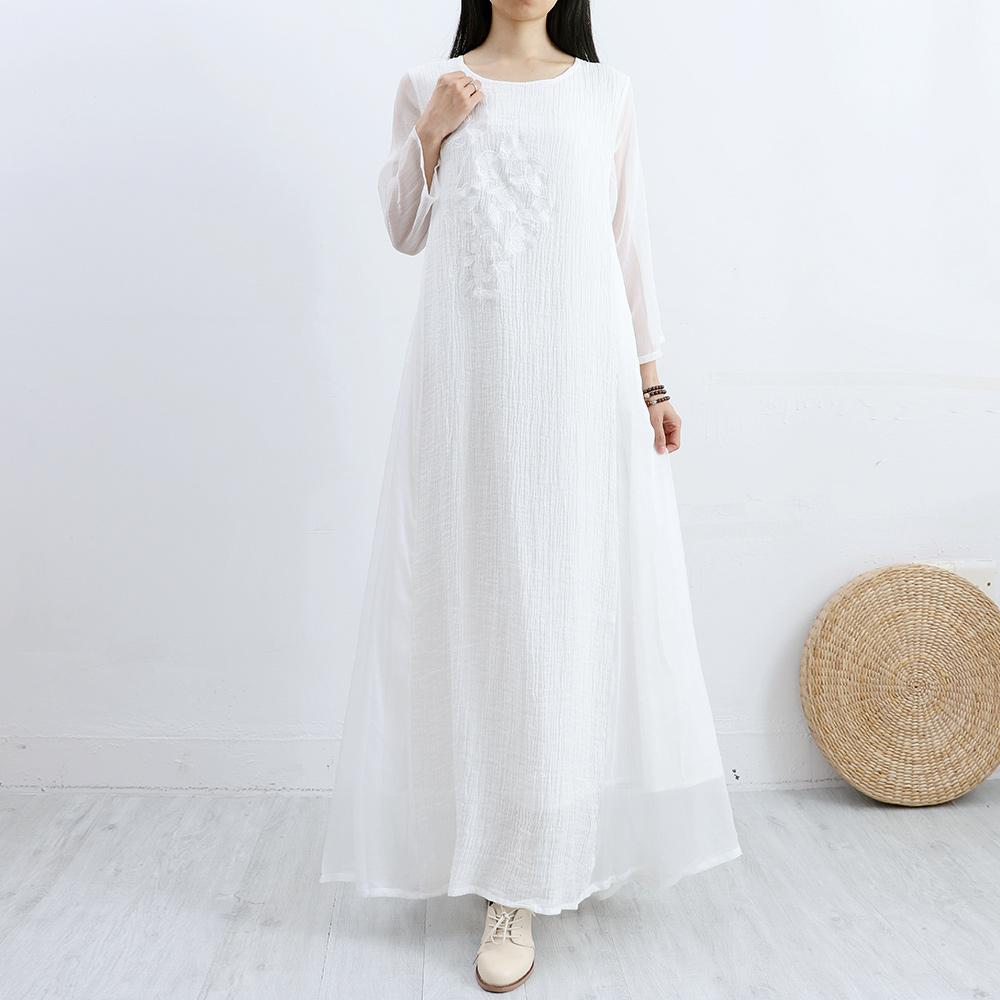 苎麻 连衣裙 真丝 民族 刺绣 花朵 文艺 女装 白色 长裙 宽松