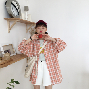 陆小团团早秋新款韩版宽松chic学院风格子长袖衬衫中长款上衣女