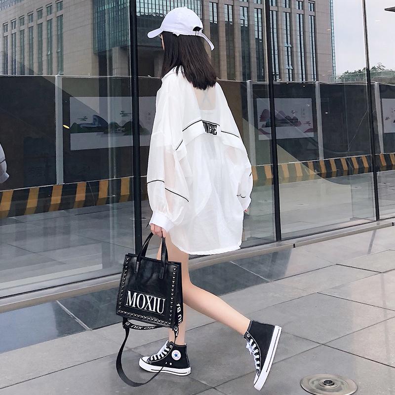 防晒衣女2019新款夏季韩版宽松百搭字母白色中长款薄款防晒外套潮