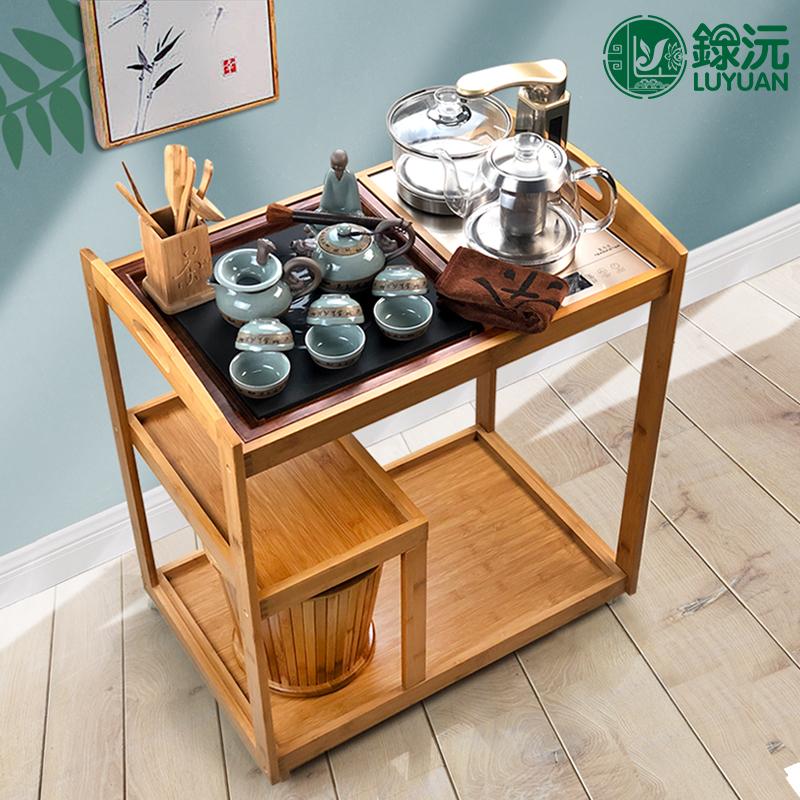録沅 移动茶车茶盘石制茶台直排水 家用时尚清新茶具套装休闲茶托