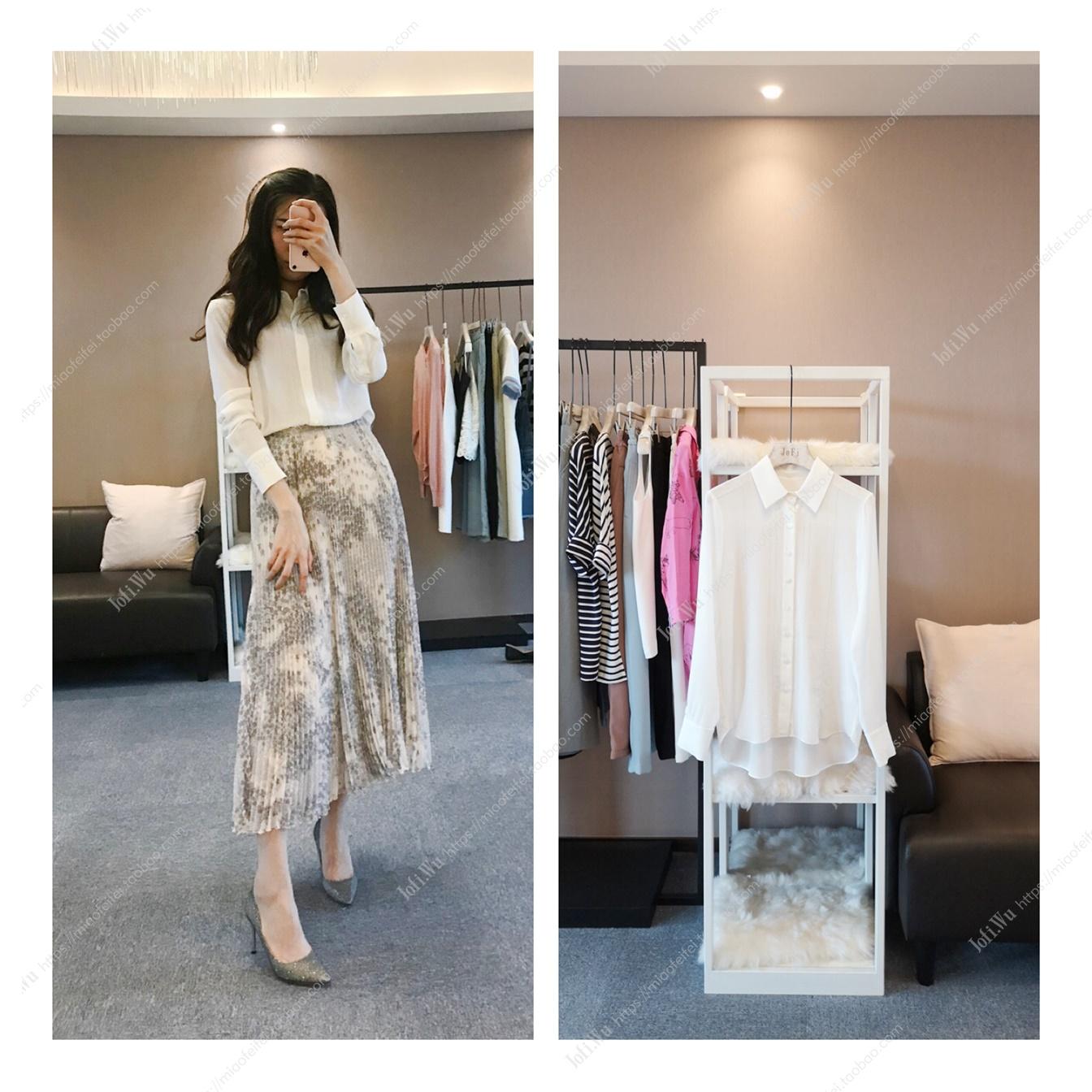 【Jofi】 -IC 19年夏  简约镂空对丝纯白色真丝长袖淑女衬衫