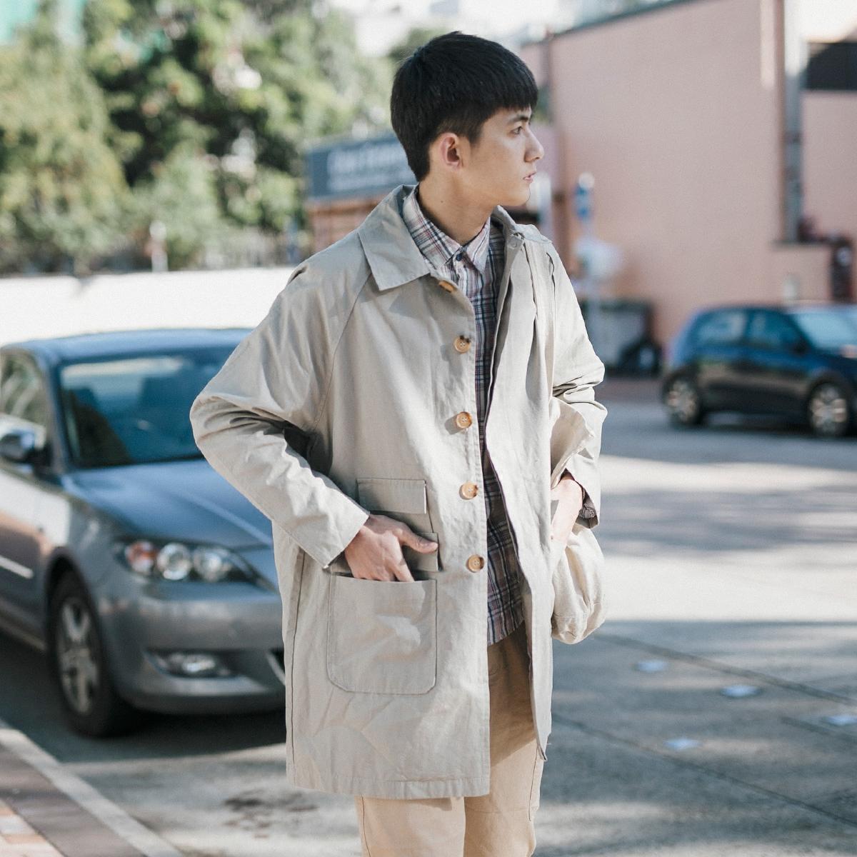 GBOY春季简约纯色中长款风衣男日系青年潮流翻领口袋装饰休闲外套