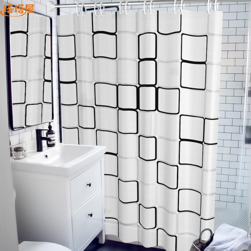 防水浴帘套装免打孔浴室帘加厚防霉北欧卫生间隔断帘门帘洗澡挂帘