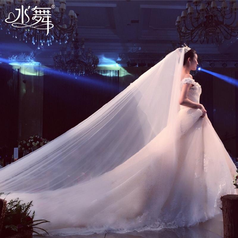 水舞新娘 白色长款3米新娘头纱双层拖尾婚纱头纱光纱配件  R0136