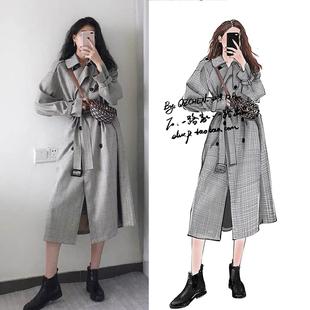 2020明星韩国街拍同款格子风衣大衣中长款过膝英伦风气质女装外套图片