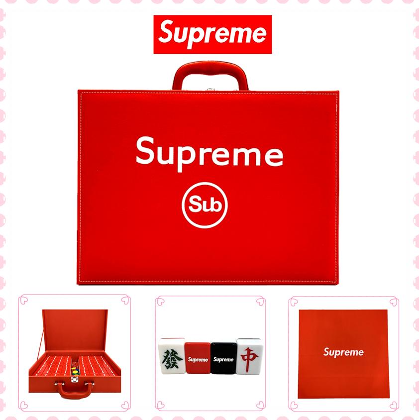 包邮定制 supreme (TM)大红麻将 家用手搓卡通 字母中大号麻将