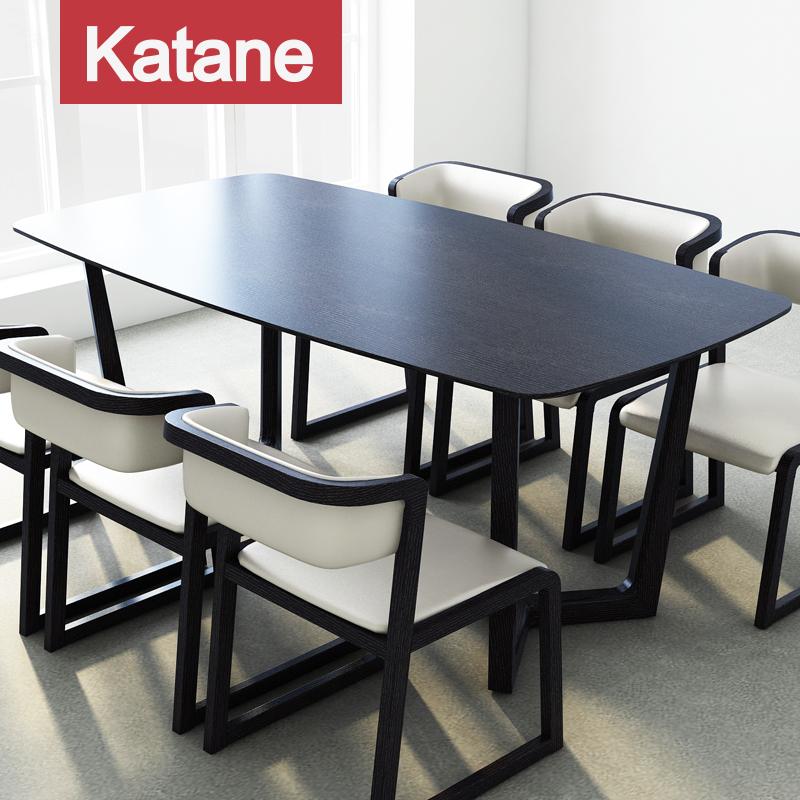 现代简约实木餐桌椅组合北欧橡木色胡桃木色饭桌6人长方形桌子