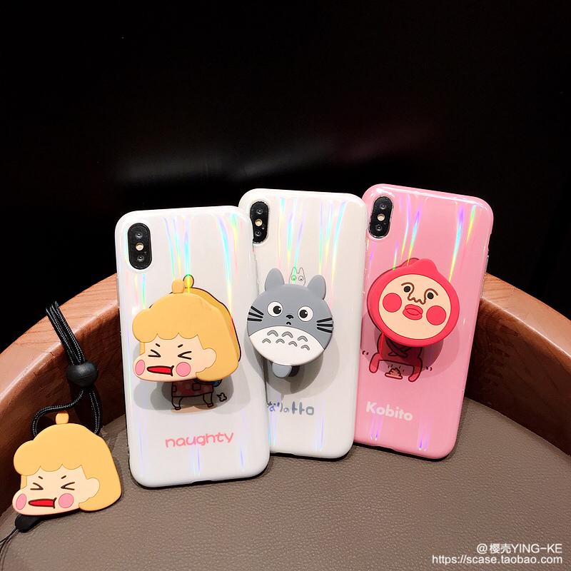 卡通龙猫苹果XS MAX手机壳iphone7/8p抖音伸缩支架全包软壳挂绳XR