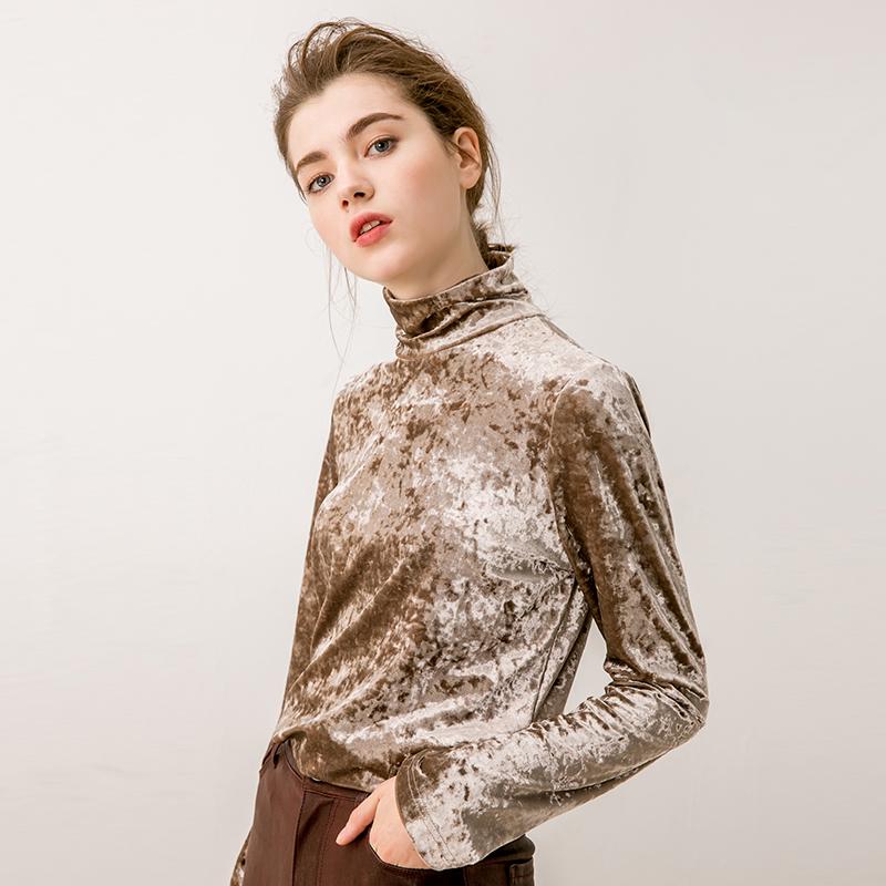 贝丽花园 14552 单穿、打底,很有时髦度~6色高领 钻石绒丝绒上衣