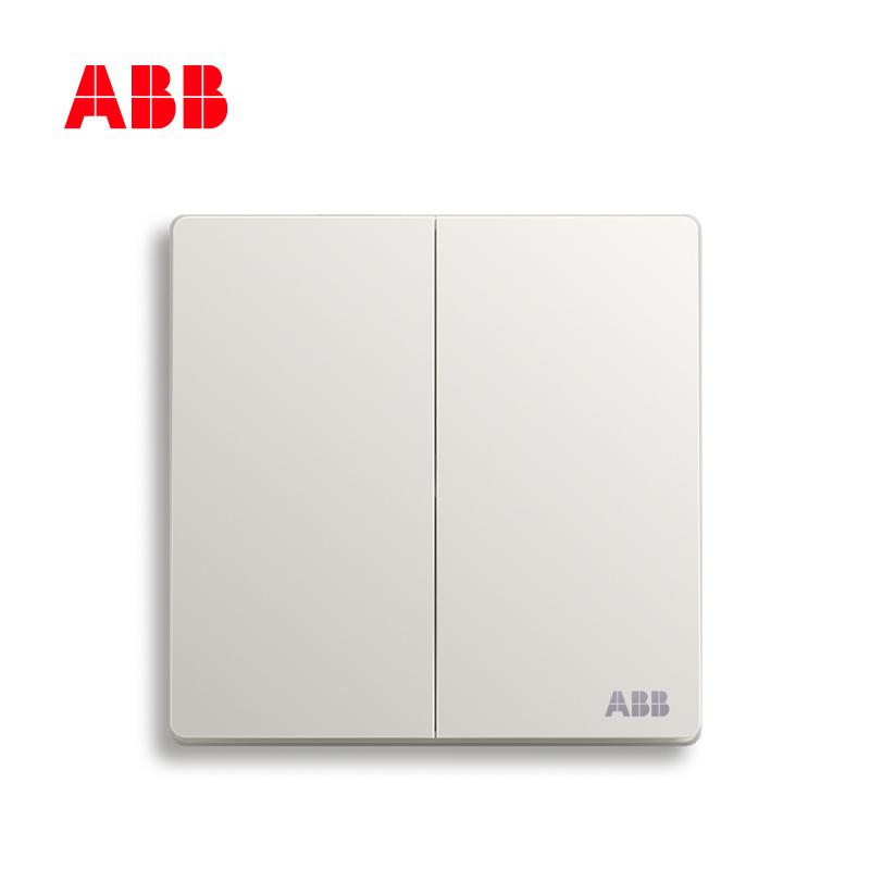 瑞士ABB开关插座面板轩致无框雅典白色系列两开中途AF186