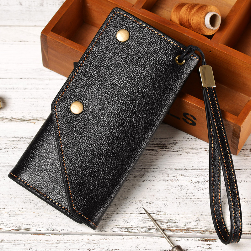 Wallet for men and women leather vertical top leather wallet Korean version leisure hand made long youth Retro Leather Wallet