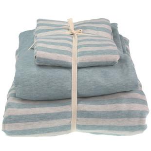 无印良品简约天竺棉裸睡全棉四件套针织棉条纹床单床笠款床品定做
